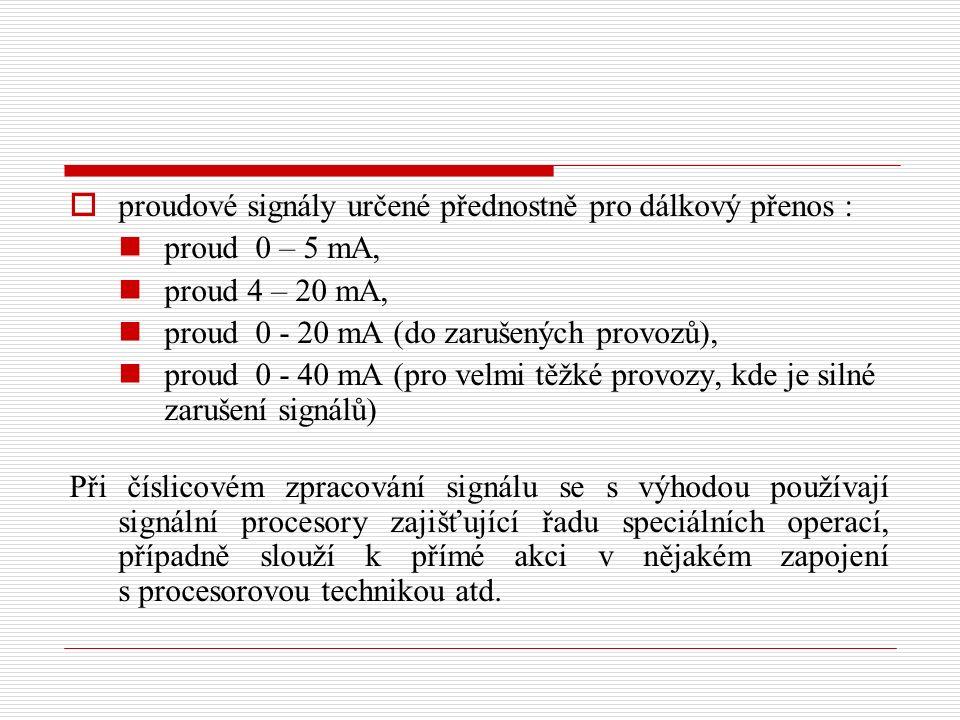 proudové signály určené přednostně pro dálkový přenos :