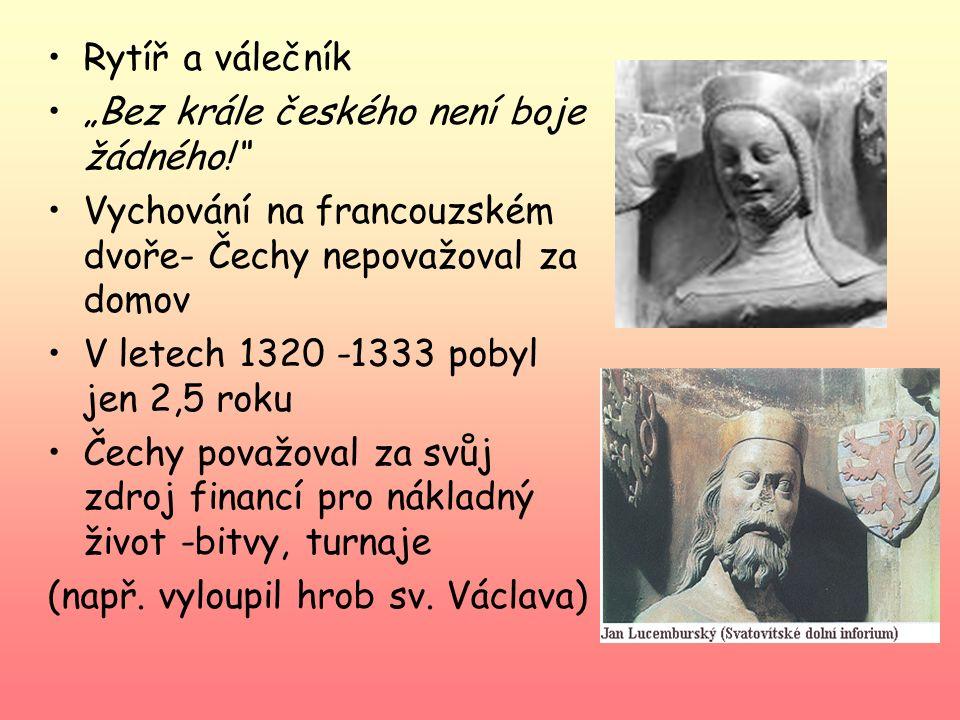"""Rytíř a válečník """"Bez krále českého není boje žádného! Vychování na francouzském dvoře- Čechy nepovažoval za domov."""