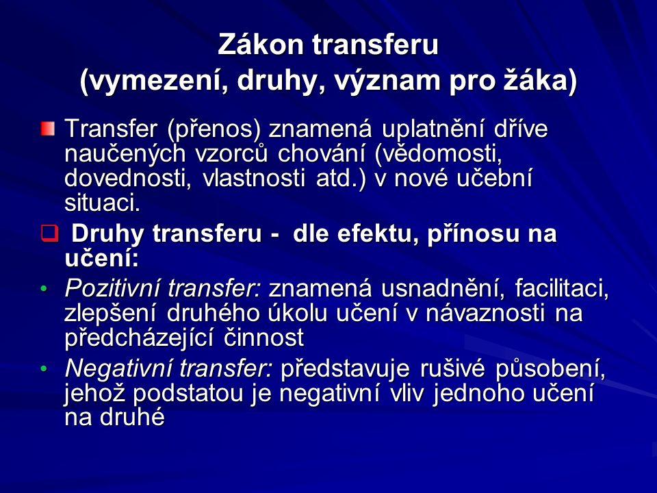 Zákon transferu (vymezení, druhy, význam pro žáka)