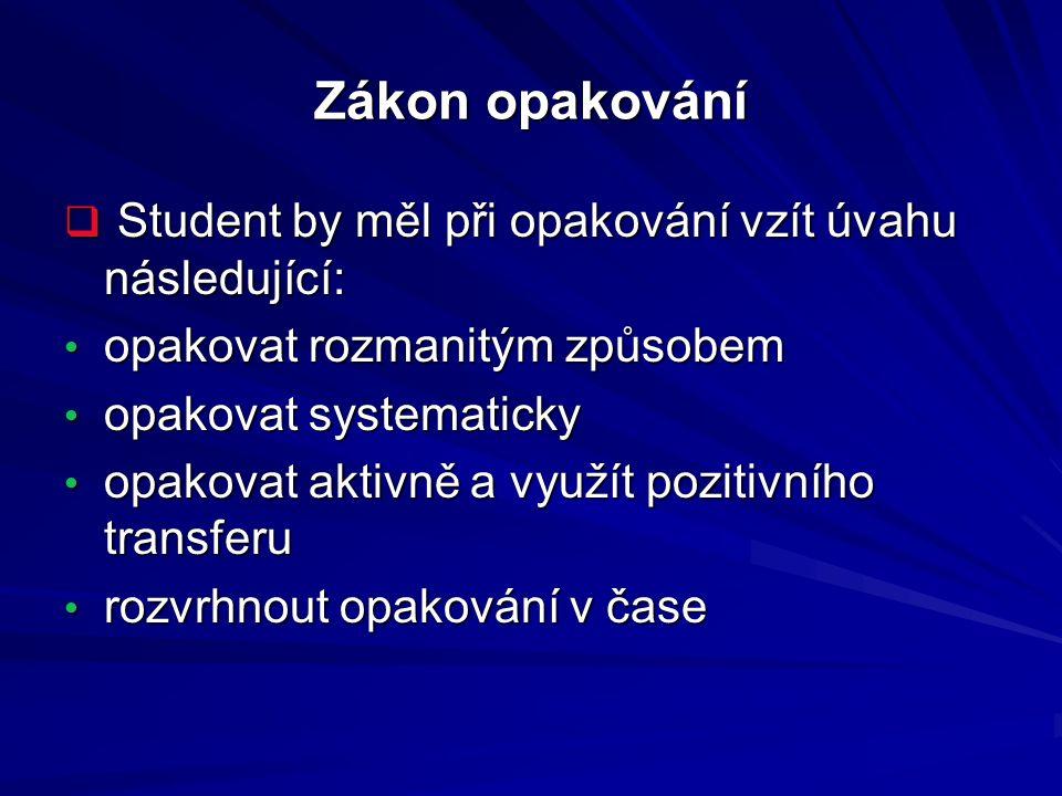 Zákon opakování Student by měl při opakování vzít úvahu následující: