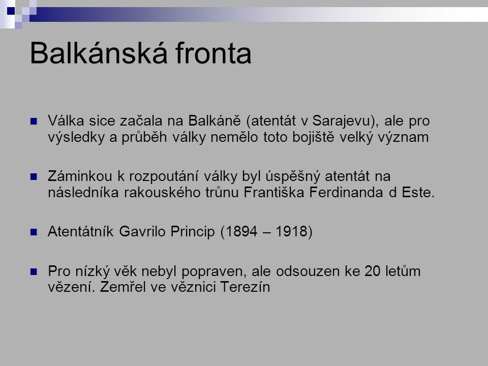 Balkánská fronta Válka sice začala na Balkáně (atentát v Sarajevu), ale pro výsledky a průběh války nemělo toto bojiště velký význam.