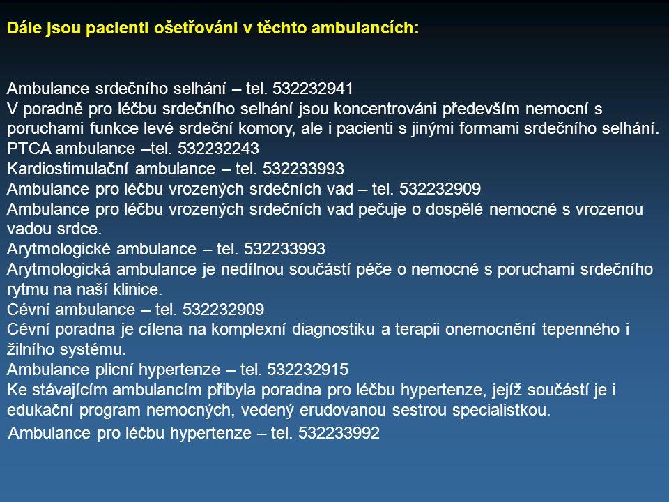 Dále jsou pacienti ošetřováni v těchto ambulancích: