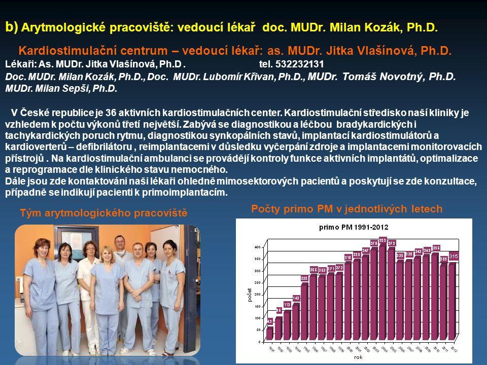 b) Arytmologické pracoviště: vedoucí lékař doc. MUDr. Milan Kozák, Ph