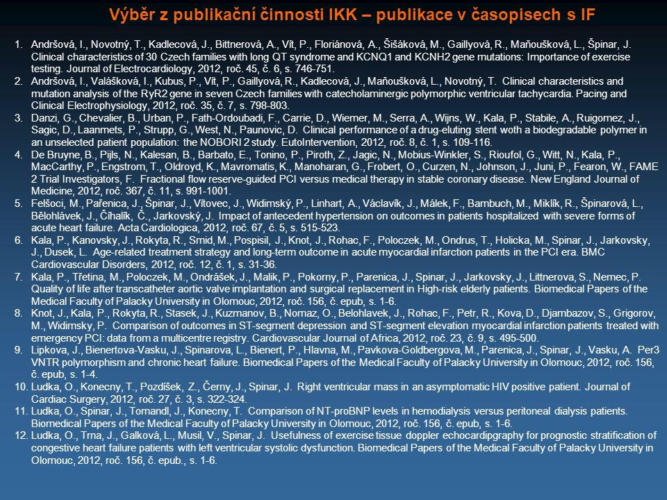 Výběr z publikační činnosti IKK – publikace v časopisech s IF