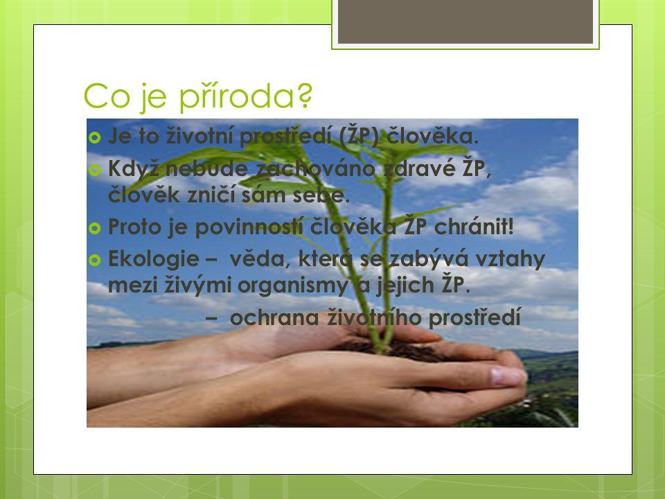 Co je příroda Je to životní prostředí (ŽP) člověka.