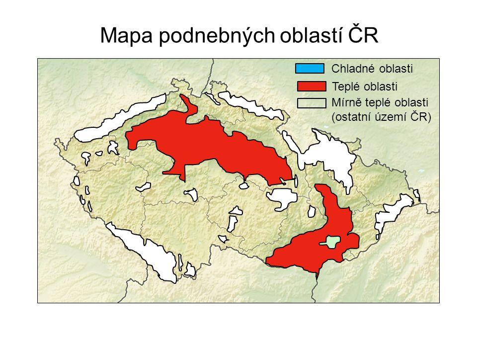 Mapa podnebných oblastí ČR