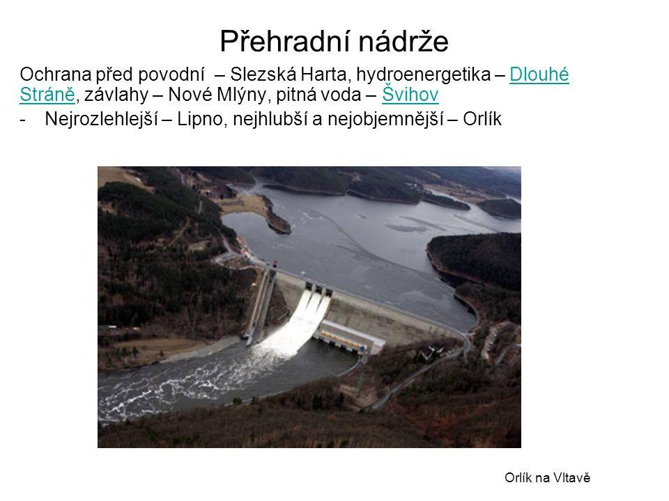 Přehradní nádrže Ochrana před povodní – Slezská Harta, hydroenergetika – Dlouhé Stráně, závlahy – Nové Mlýny, pitná voda – Švihov.