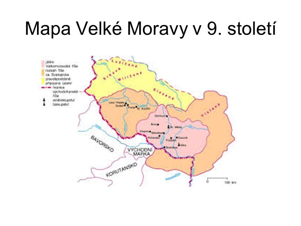 Mapa Velké Moravy v 9. století