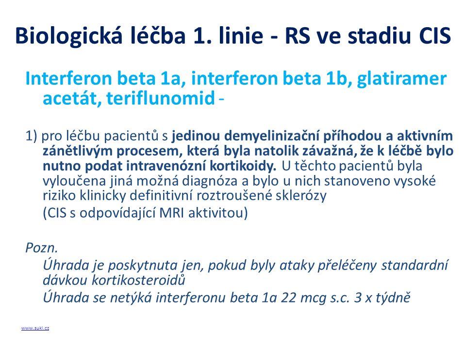 Biologická léčba 1. linie - RS ve stadiu CIS