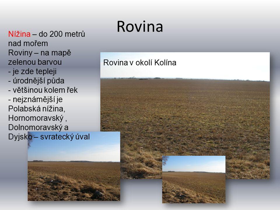 Rovina Nížina – do 200 metrů nad mořem Roviny – na mapě zelenou barvou