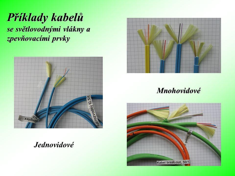 Příklady kabelů se světlovodnými vlákny a zpevňovacími prvky
