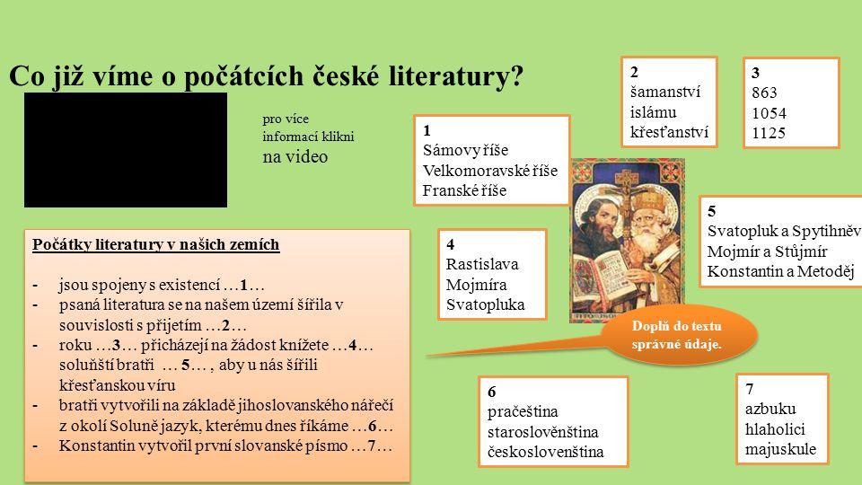Co již víme o počátcích české literatury