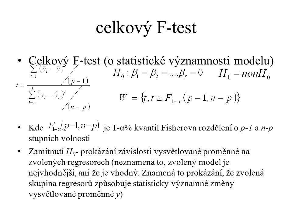 celkový F-test Celkový F-test (o statistické významnosti modelu)