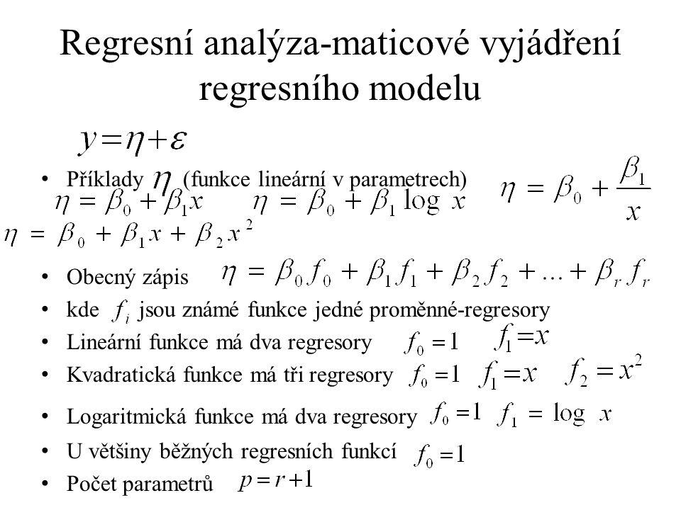 Regresní analýza-maticové vyjádření regresního modelu