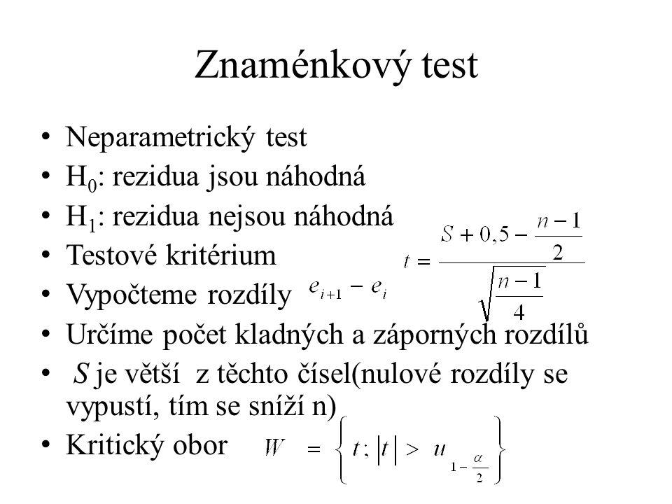 Znaménkový test Neparametrický test H0: rezidua jsou náhodná