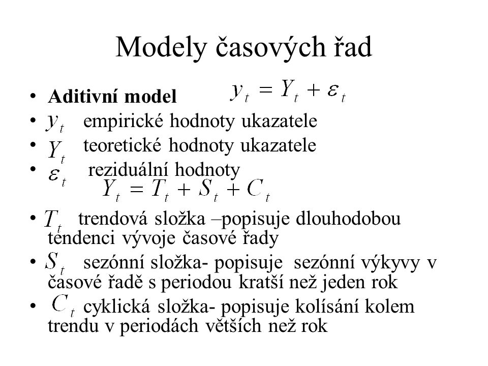 Modely časových řad Aditivní model empirické hodnoty ukazatele