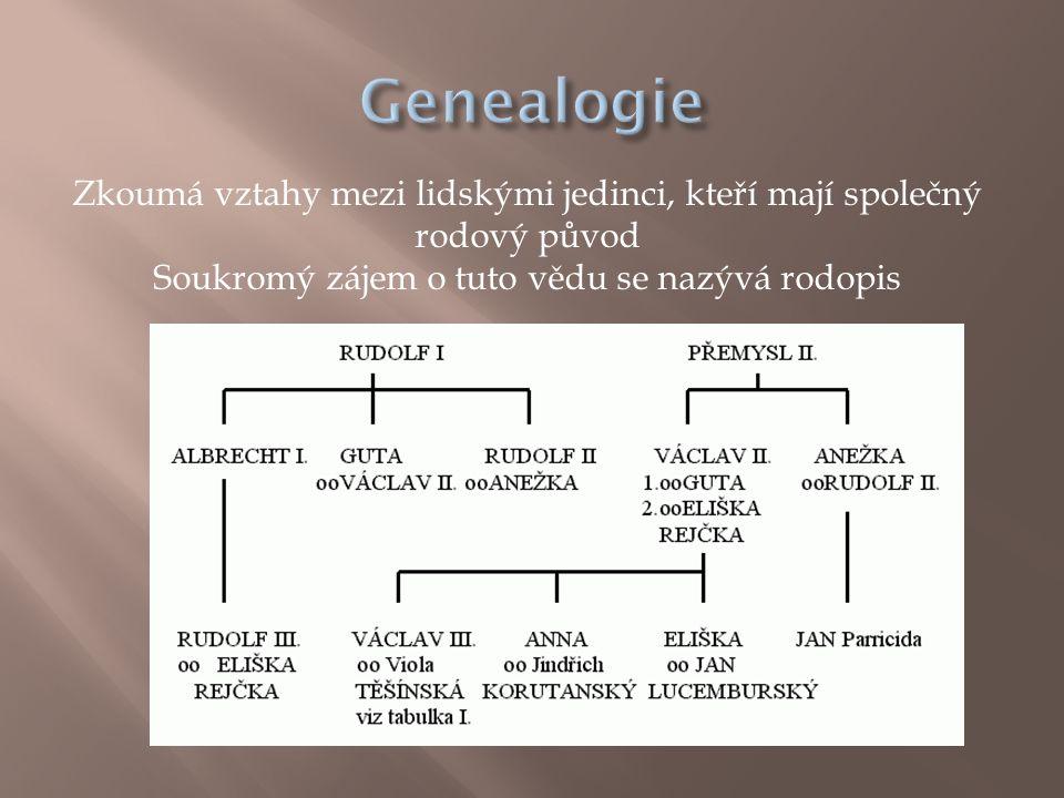 Genealogie Zkoumá vztahy mezi lidskými jedinci, kteří mají společný rodový původ.