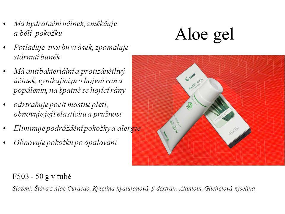 Aloe gel Má hydratační účinek, změkčuje a bělí pokožku