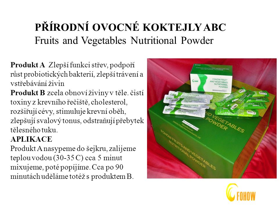 PŘÍRODNÍ OVOCNÉ KOKTEJLY ABC Fruits and Vegetables Nutritional Powder
