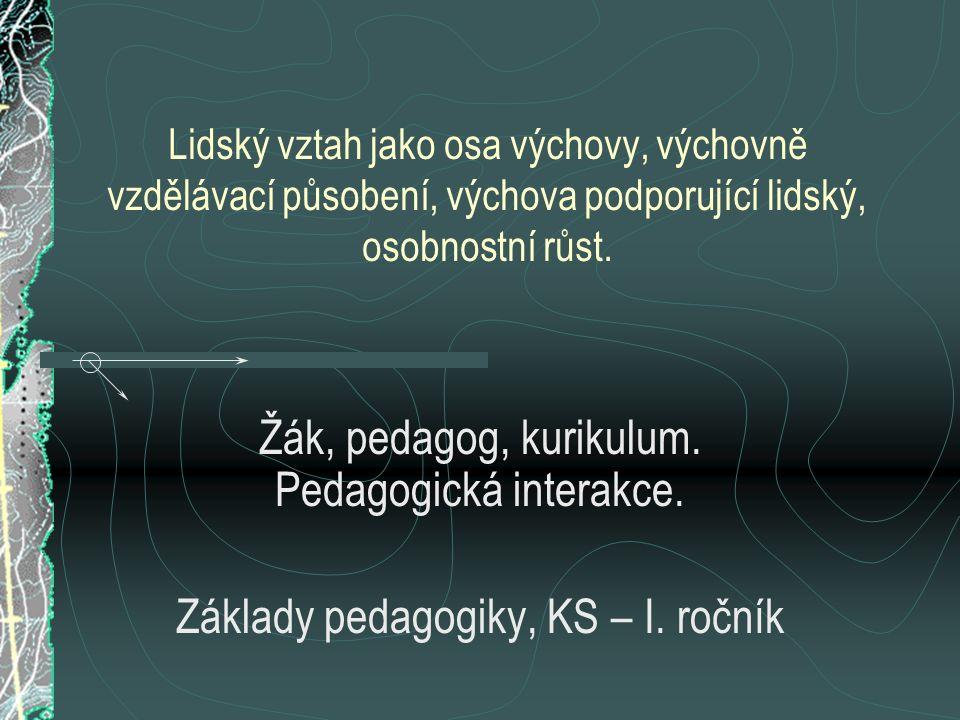 Žák, pedagog, kurikulum. Pedagogická interakce.