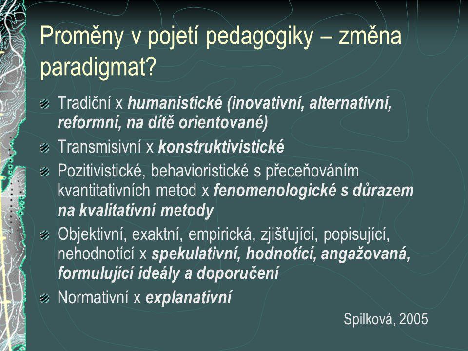 Proměny v pojetí pedagogiky – změna paradigmat
