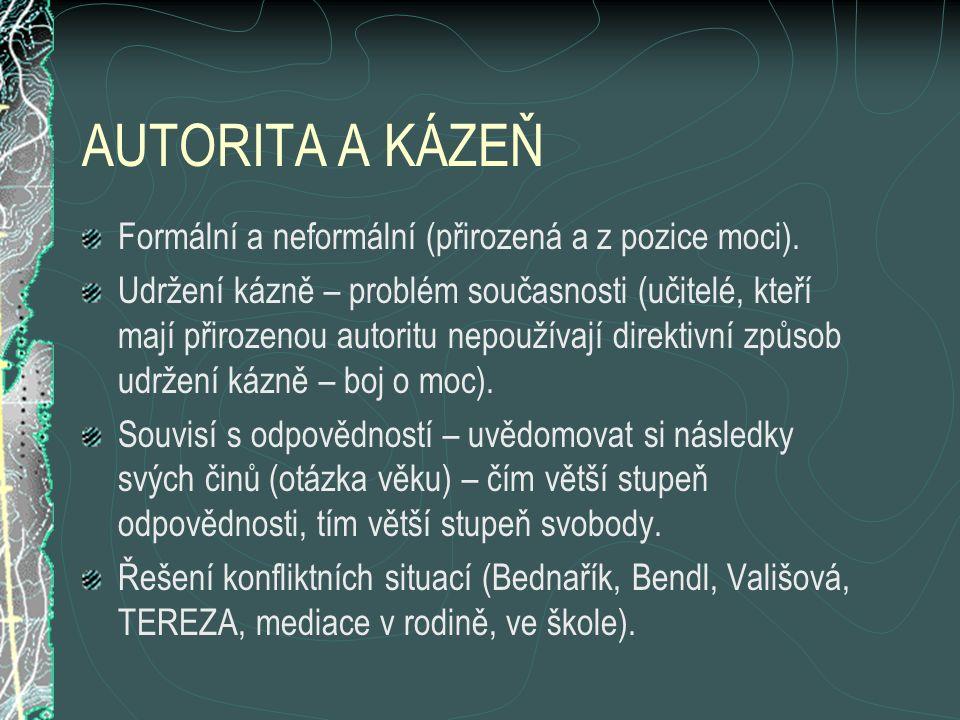 AUTORITA A KÁZEŇ Formální a neformální (přirozená a z pozice moci).