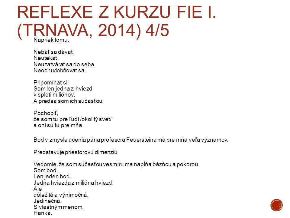 Reflexe z kurzu FIE I. (Trnava, 2014) 4/5