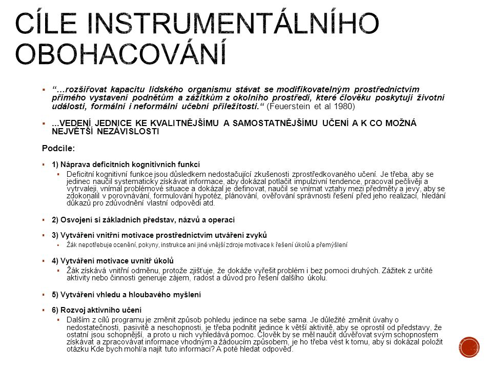 Cíle instrumentálního obohacování