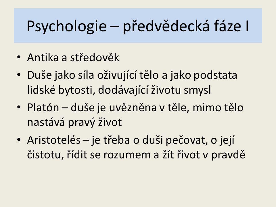 Psychologie – předvědecká fáze I
