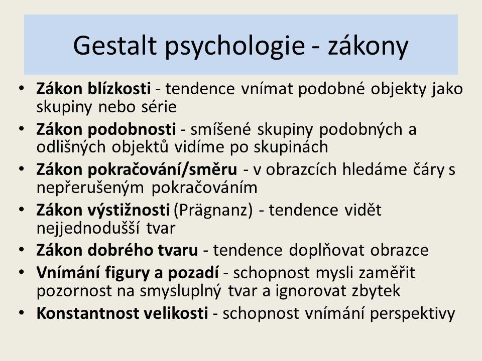 Gestalt psychologie - zákony