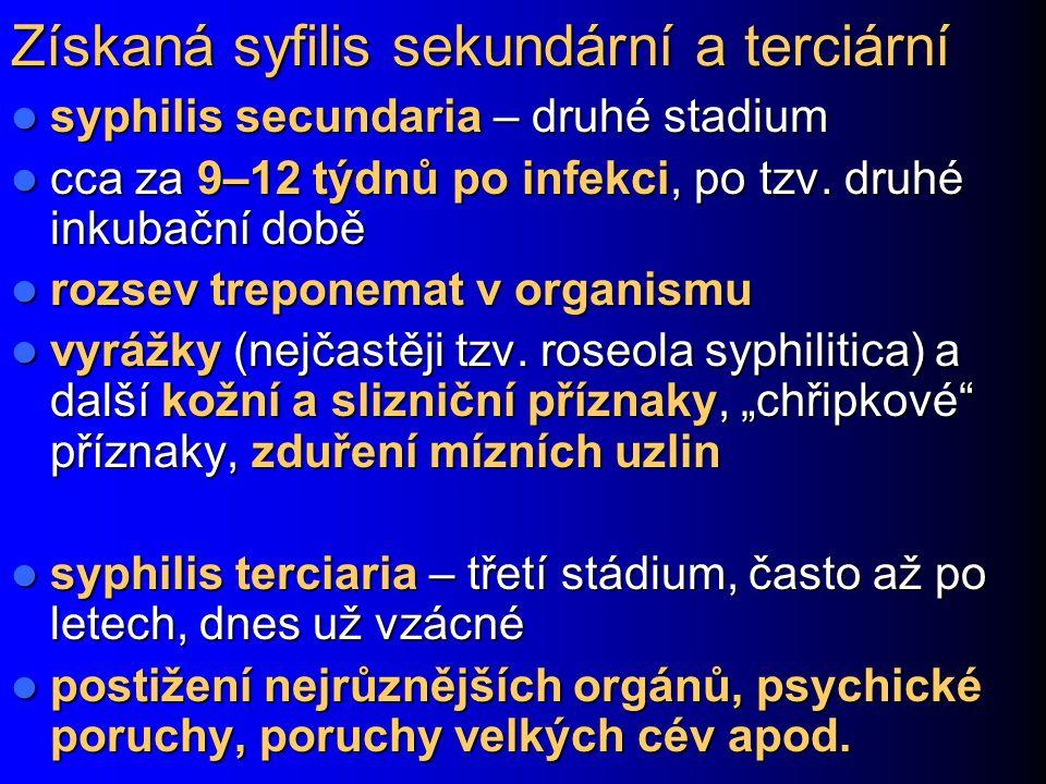 Získaná syfilis sekundární a terciární