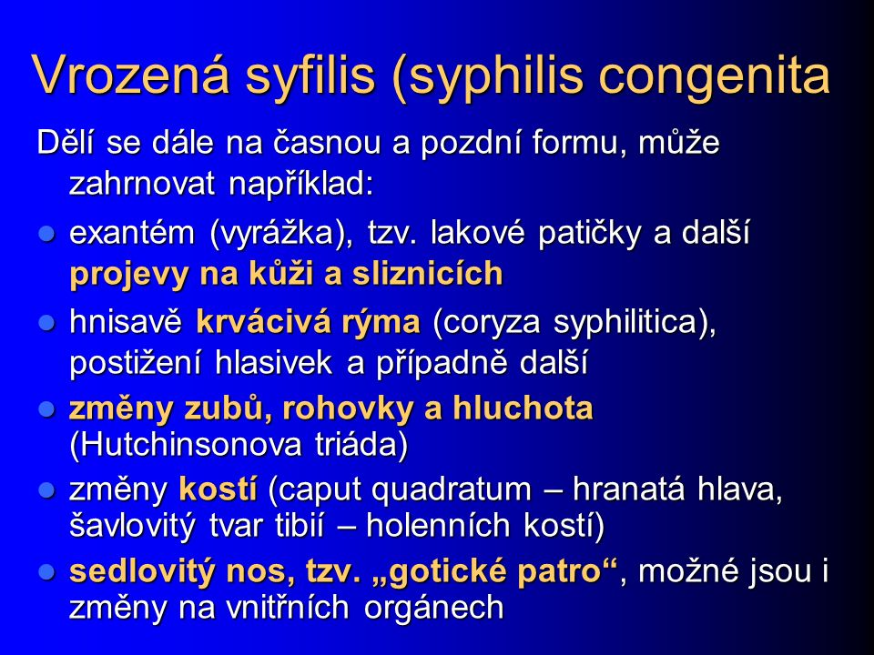 Vrozená syfilis (syphilis congenita