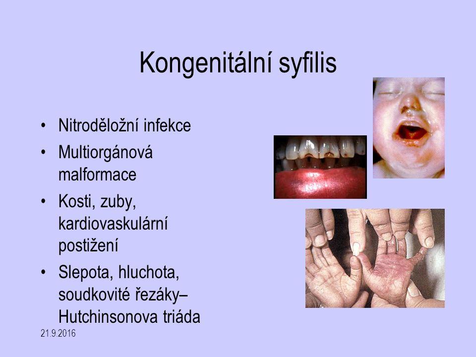 Kongenitální syfilis Nitroděložní infekce Multiorgánová malformace