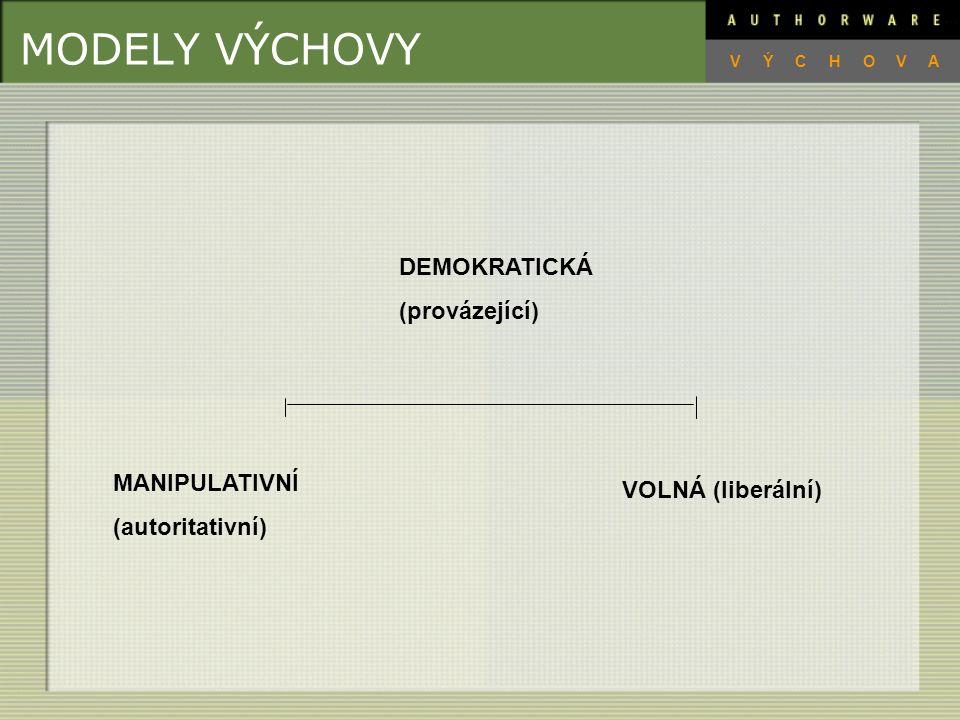 MODELY VÝCHOVY DEMOKRATICKÁ (provázející) MANIPULATIVNÍ