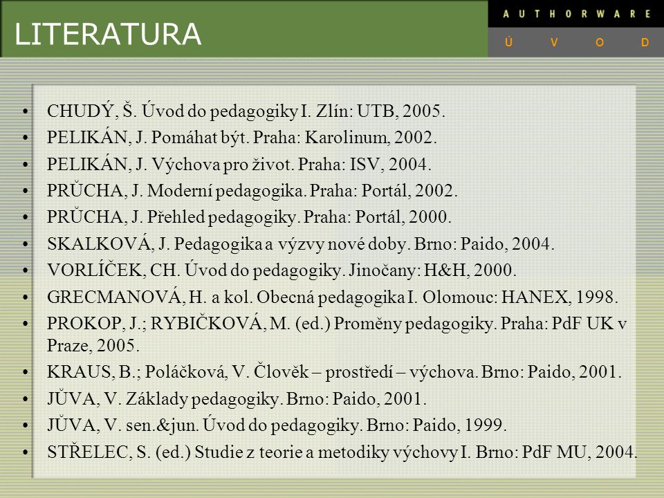 LITERATURA CHUDÝ, Š. Úvod do pedagogiky I. Zlín: UTB, 2005.