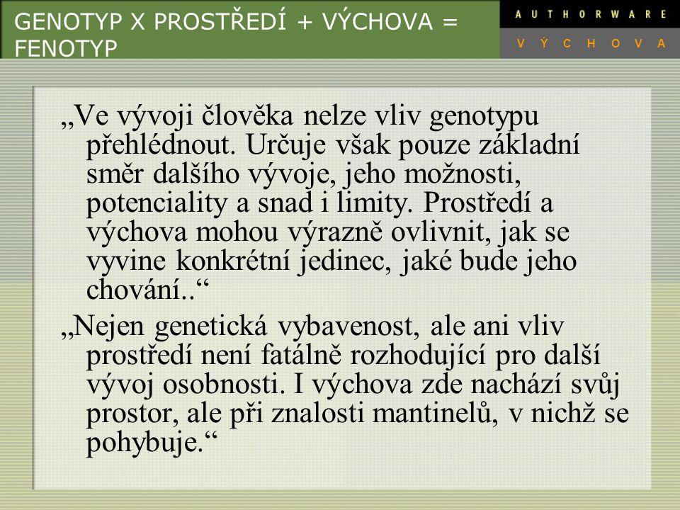 GENOTYP X PROSTŘEDÍ + VÝCHOVA = FENOTYP