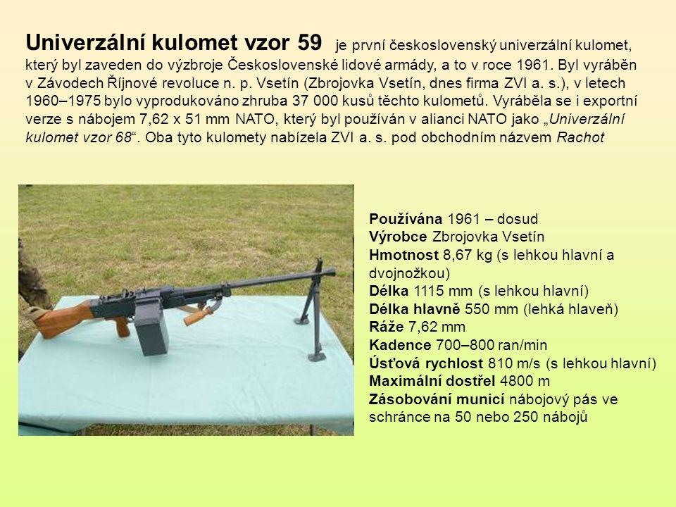 """Univerzální kulomet vzor 59 je první československý univerzální kulomet, který byl zaveden do výzbroje Československé lidové armády, a to v roce 1961. Byl vyráběn v Závodech Říjnové revoluce n. p. Vsetín (Zbrojovka Vsetín, dnes firma ZVI a. s.), v letech 1960–1975 bylo vyprodukováno zhruba 37 000 kusů těchto kulometů. Vyráběla se i exportní verze s nábojem 7,62 x 51 mm NATO, který byl používán v alianci NATO jako """"Univerzální kulomet vzor 68 . Oba tyto kulomety nabízela ZVI a. s. pod obchodním názvem Rachot"""
