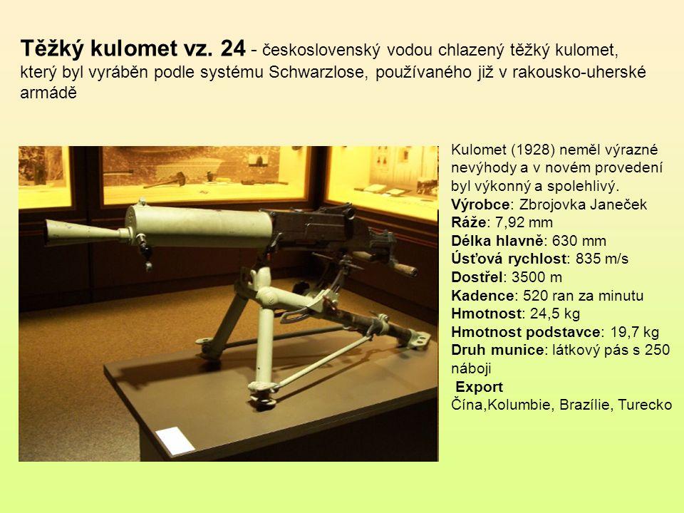 Těžký kulomet vz. 24 - československý vodou chlazený těžký kulomet, který byl vyráběn podle systému Schwarzlose, používaného již v rakousko-uherské armádě