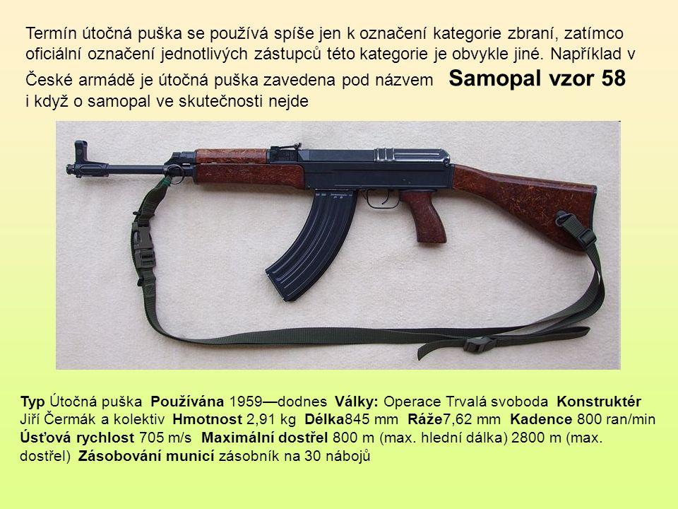 Termín útočná puška se používá spíše jen k označení kategorie zbraní, zatímco oficiální označení jednotlivých zástupců této kategorie je obvykle jiné. Například v České armádě je útočná puška zavedena pod názvem Samopal vzor 58 i když o samopal ve skutečnosti nejde