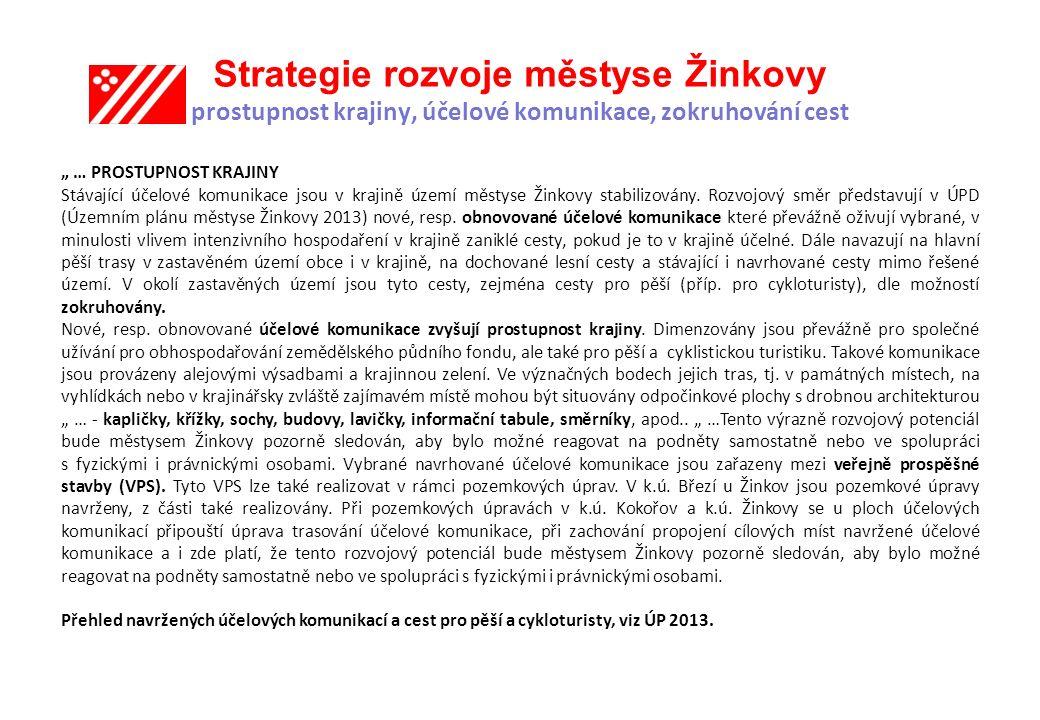 Strategie rozvoje městyse Žinkovy prostupnost krajiny, účelové komunikace, zokruhování cest