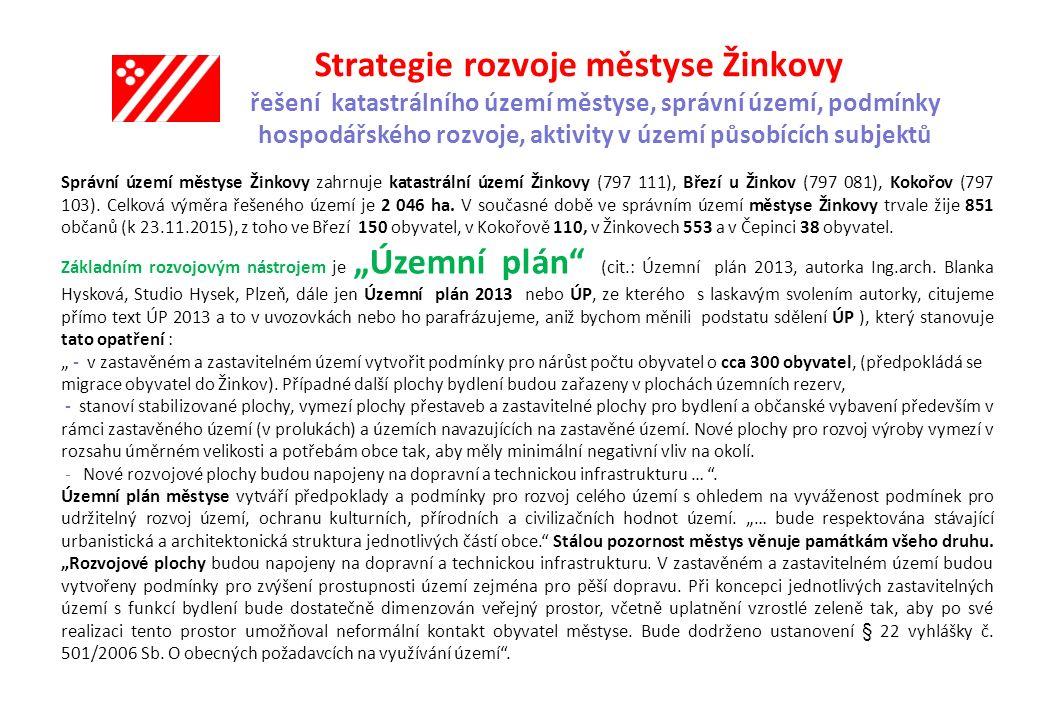 Strategie rozvoje městyse Žinkovy řešení katastrálního území městyse, správní území, podmínky hospodářského rozvoje, aktivity v území působících subjektů