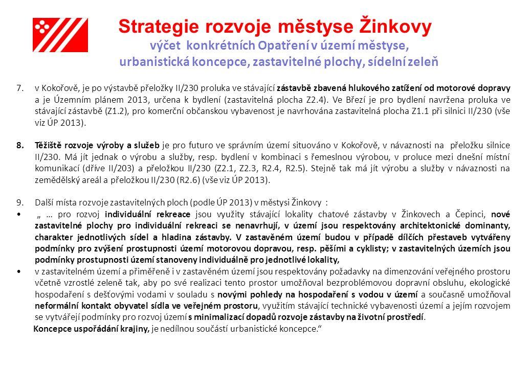 Strategie rozvoje městyse Žinkovy výčet konkrétních Opatření v území městyse, urbanistická koncepce, zastavitelné plochy, sídelní zeleň