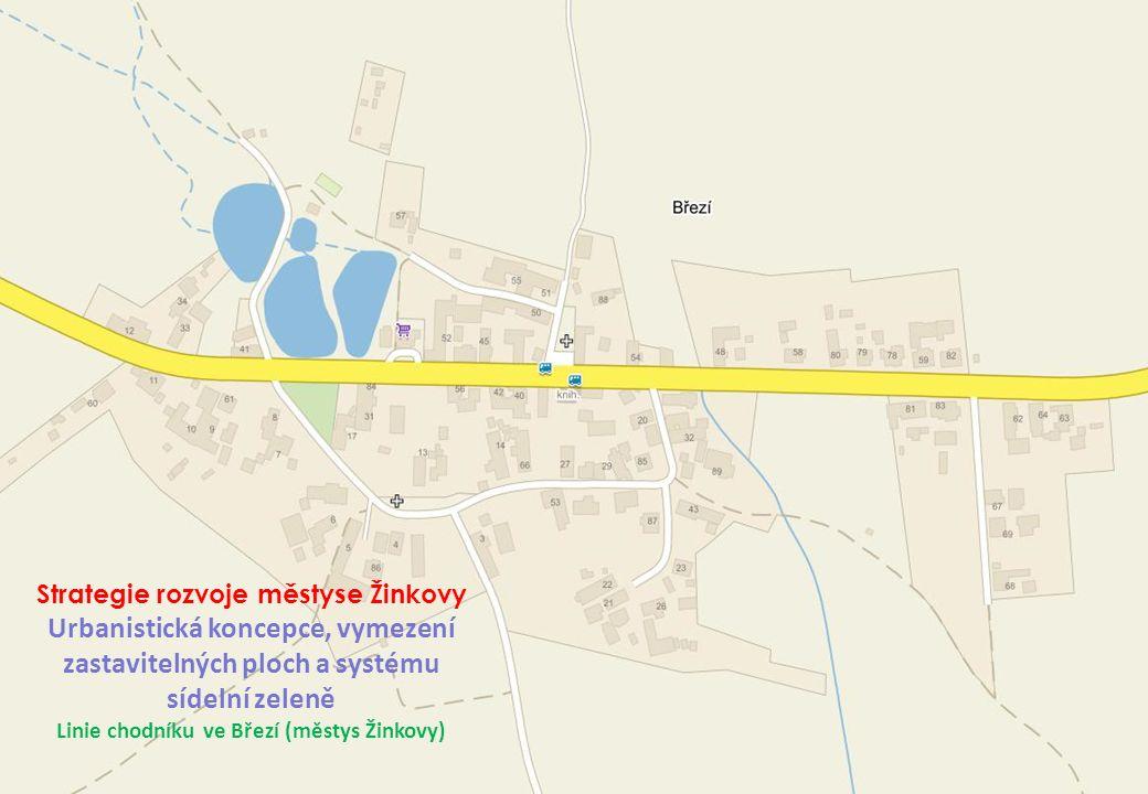 Linie chodníku ve Březí (městys Žinkovy)