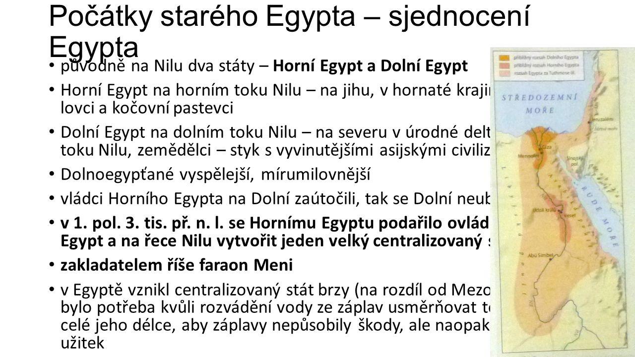 Počátky starého Egypta – sjednocení Egypta
