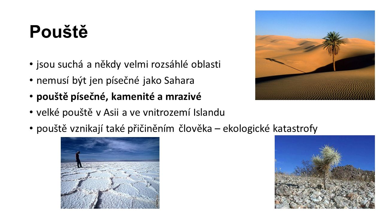 Pouště jsou suchá a někdy velmi rozsáhlé oblasti