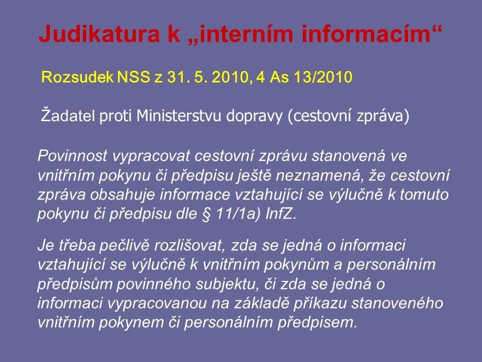 """Judikatura k """"interním informacím"""