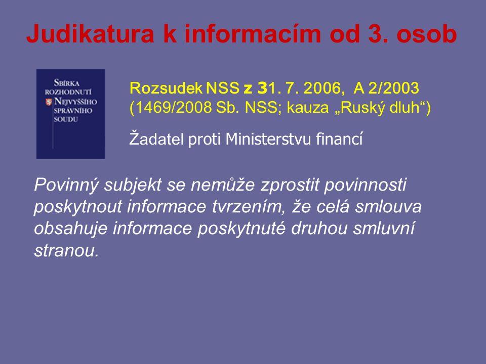Judikatura k informacím od 3. osob