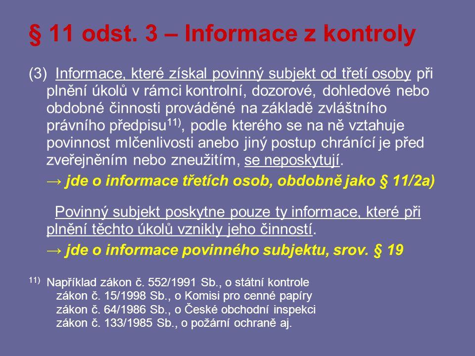 § 11 odst. 3 – Informace z kontroly