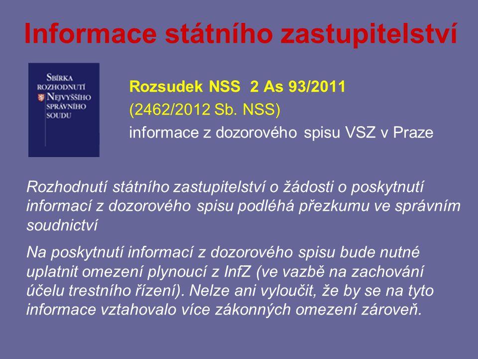 Informace státního zastupitelství