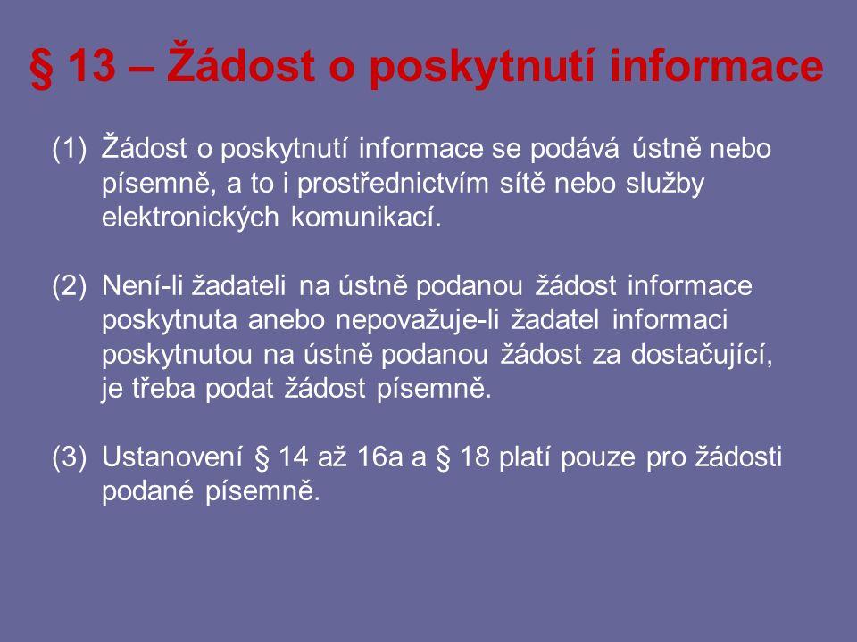 § 13 – Žádost o poskytnutí informace